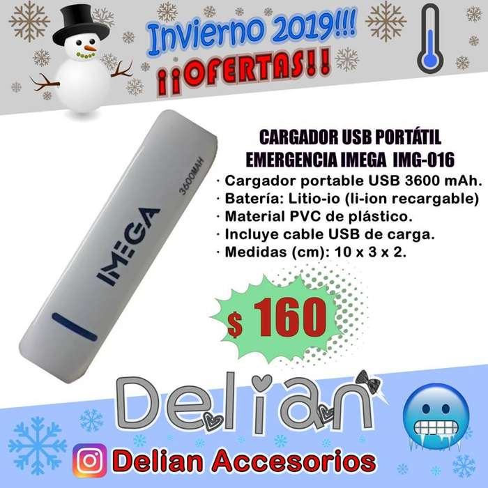 Cargador Portátil Imega 3.600mah Power Bank USB para teléfonos celulares, tablets, gps, etc