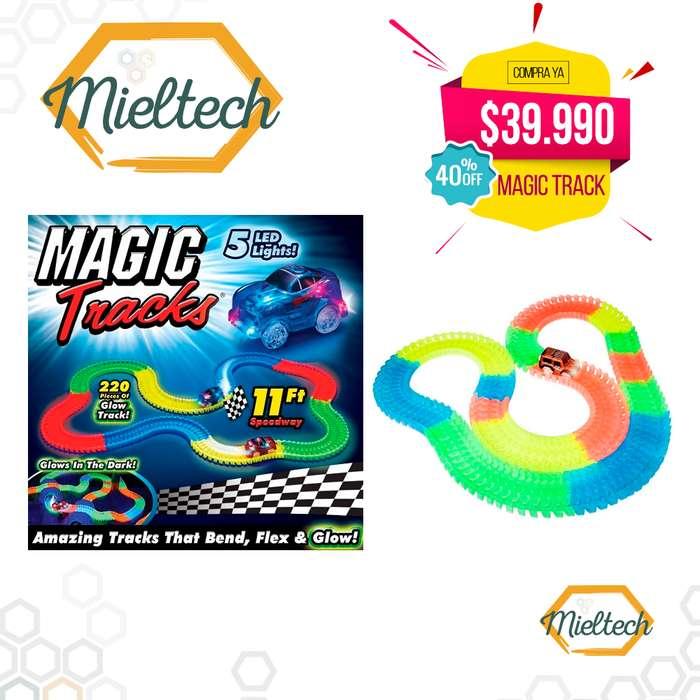 pista neon carros luminosos brilla flexible magic track 220 piezas