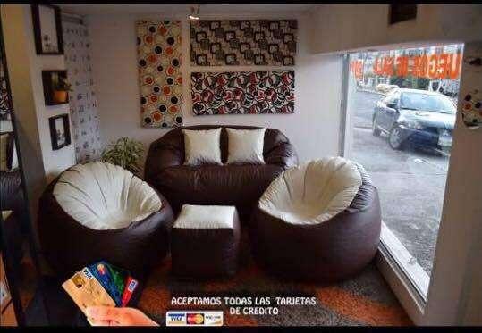 Juego de Sala Puff <strong>sofa</strong>s muebles puff sillon butaca asientos sillas