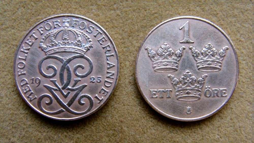 Moneda de 1 öre Suecia 1925