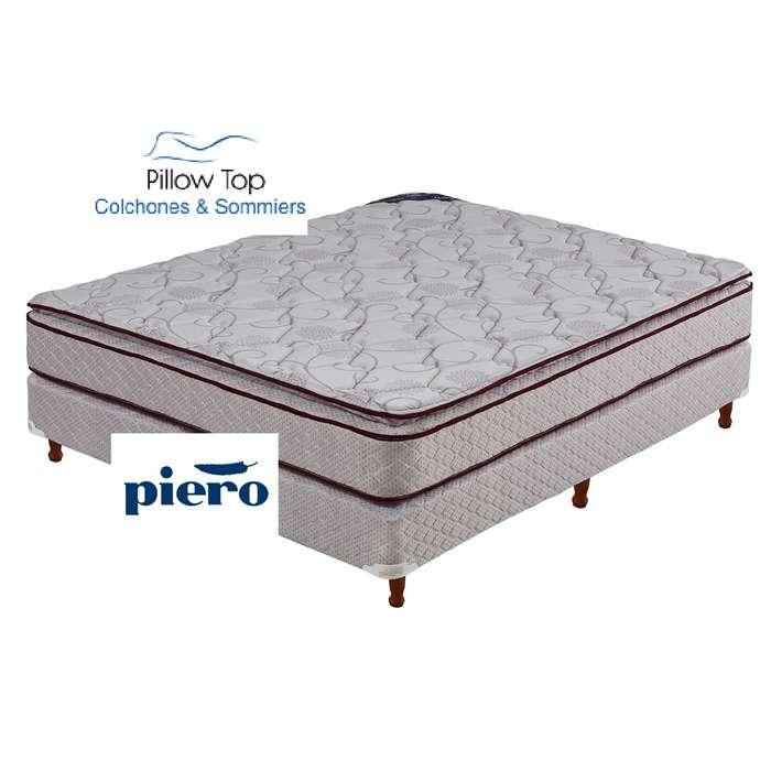Colchón Conjunto Sommier Resorte Piero Mattina Pillow 190x140x27 Nuevo. Posadas Misiones