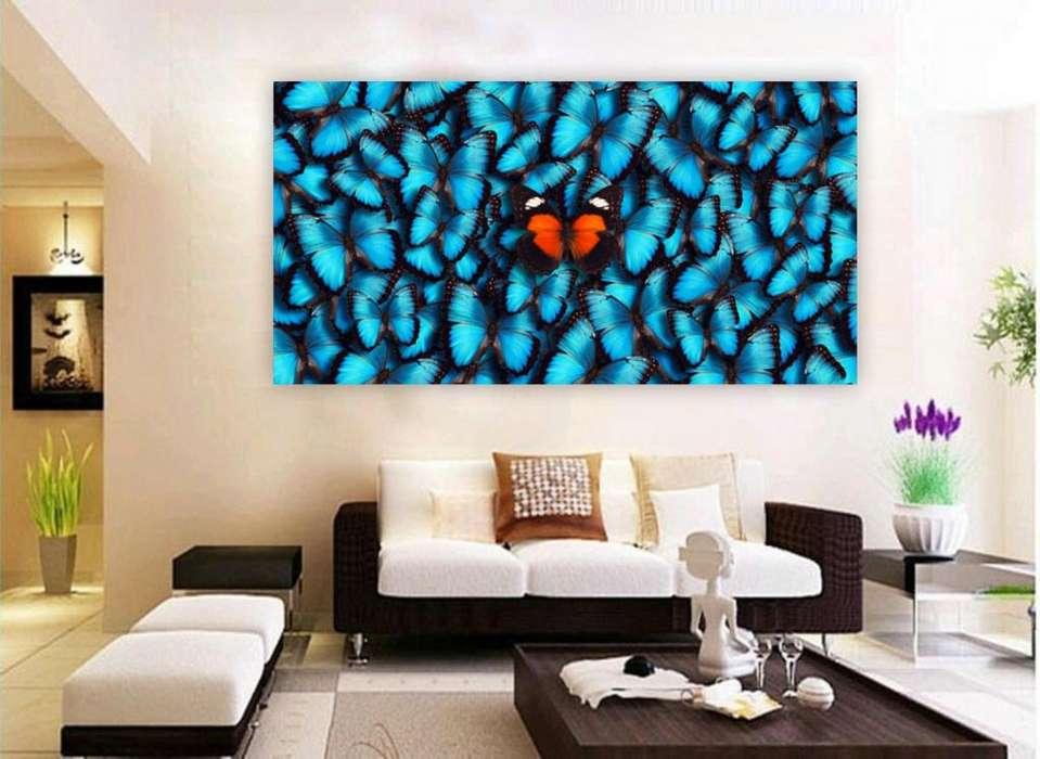Cuadro de mariposas azules y una naranja 3267