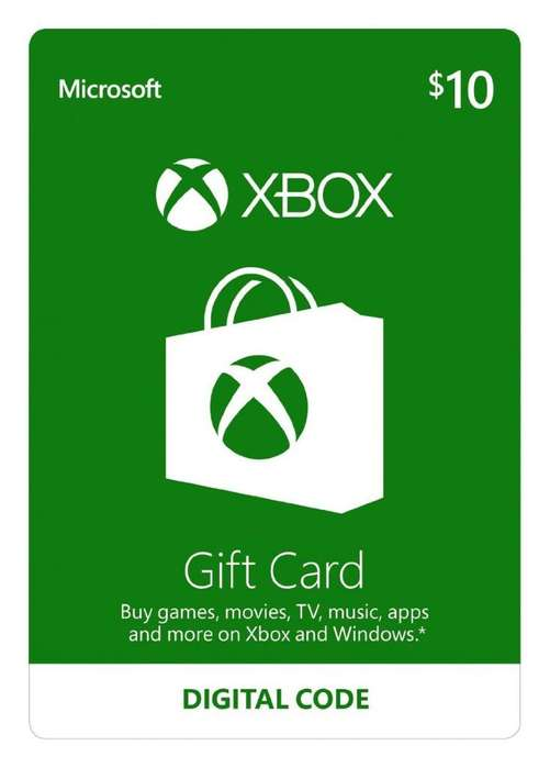 Tarjeta Prepago XBOX de 10 dolares Gift Card