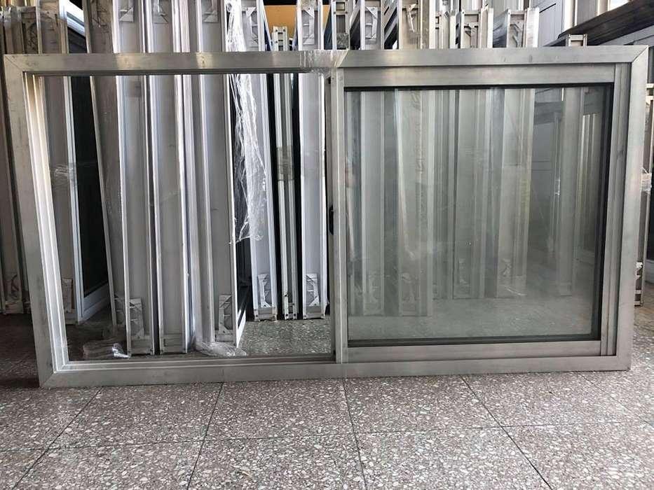 Ventana <strong>aluminio</strong> natural con vidrio 1.50 x 0.80