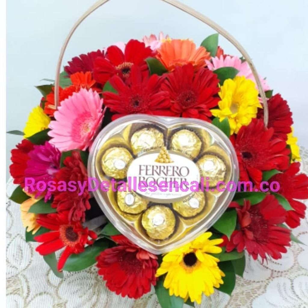 Hermoso en Gerberas Y Chocolates