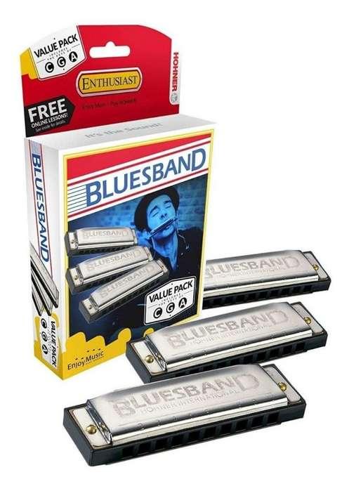 Kit Armonicas Hohner Bluesband 20 Voces X3
