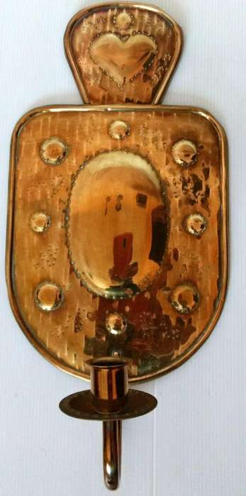 Antiguo aplique candelabro de bronce