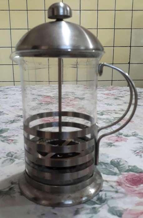 Cafetera 600ml A Presion Prensa Y Juego De Cafe Acero Inox. vidrio templado