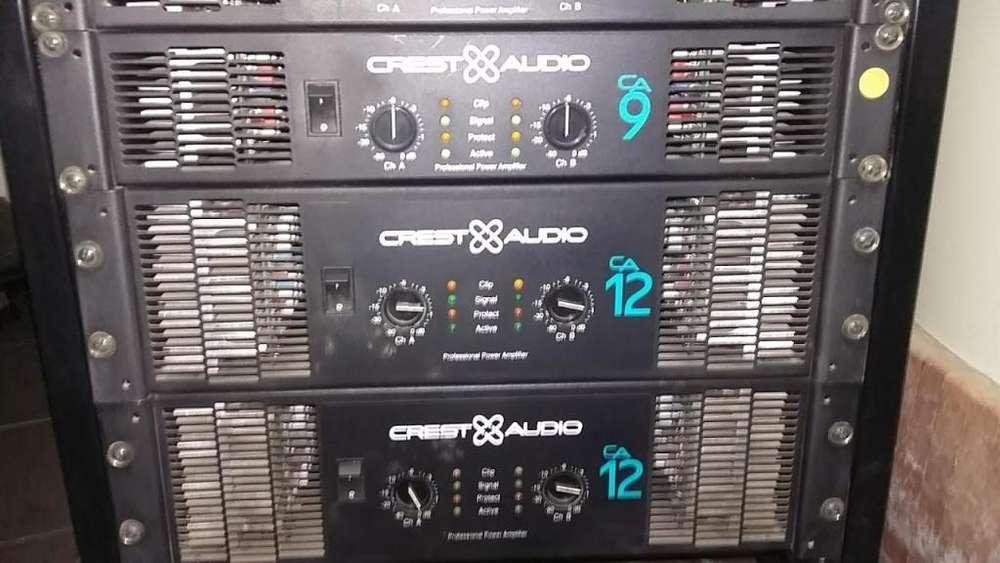 PLANTA DE SONIDO PROFESIONAL, Made In USA, CREST AUDIO CA9, Amplificadores Potencias Americanas