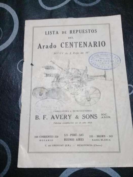 Catálogo De Lista De Repuestos Del Arado Centenario