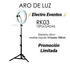 ARO DE LUZ LED 26 CM CON CONTROL REMOTO PARA TUS MEJORES TOMAS Y VIDEOS