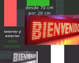 Aviso LED programables desde un metro por 20 cm