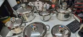 Juego de ollas en acero quirúrgico 12 piezas