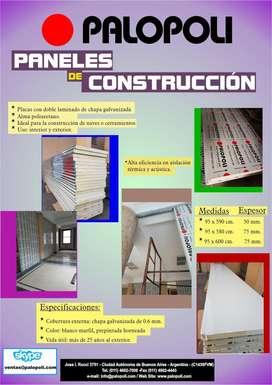 Placas Paneles Construccion Autoportante Doble Laminado Palopoli Espesor 75mm