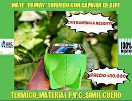 """NOVEDAD! MATE"""" PAMPA"""" ARGENTINO TORPEDO con BOMBILLA ACERO RESORTE.!"""