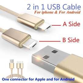 Stock Limitado! Cable 2 en 1 Solo Usb Android y iPhone Super Resitente