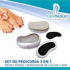 Set de Pedicuria 3 en 1 - Piedra Pomez / Removedor de Callos / Lima