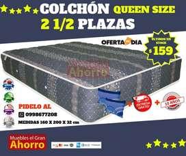 OFERTA Colchón Dos Y Media Plazas MAS 2 Almohadas MAS Entrega GRATIS EN QUITO Y VALLES.