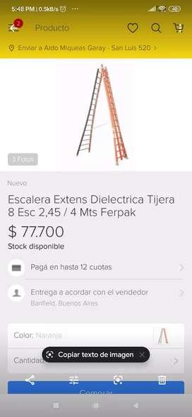Vendo escalera dieléctrica a 45 pesos  está en exelente estado como se ve en la foto pero a menor precio doy facilidades