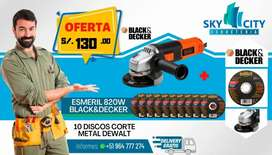 ESMERIL BLACK & DEKER 820W + 10 Discos de fierro