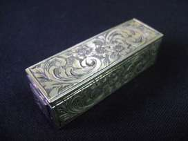 Antiguo porta lápiz labial plata 800 cincelada / Maxim Nord