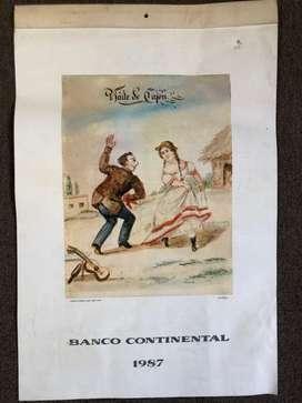 Almanaque de 1987 de Pancho Fierro como motivo Escaso