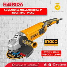 Amoladora Angular 2200w Ingco Industrial 9'' Esmeril Sierra