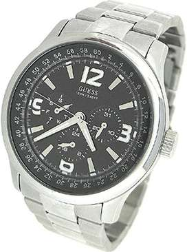 Reloj Guess Hombre U11629G1 Silver Stainless-Steel Quartz with Black Dial