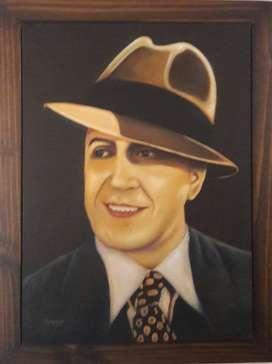Pintura original al oleo de Carlos Gardel