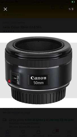 Lente canon 50mm + tapasol y filtros UV