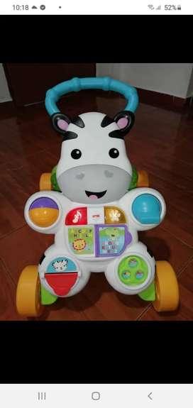 Vendo andadera caminador cebra musical bebé frisher price