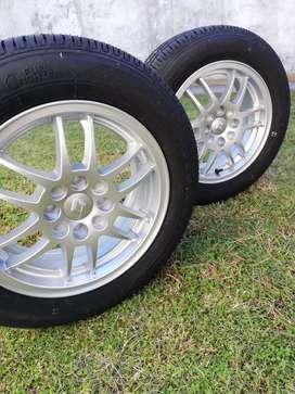 2 Llantas Aluminio F1 Sport R14 + 2 Cubiertas Firestone Clio