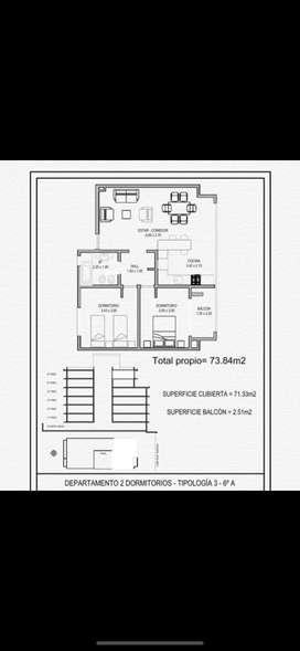 Vendo Depto 2 dormitorios amplios 1 con balcon, vista soñada