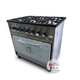 Cocina Industrial 6 Hornallas Horno Pizzero Enlozado 86 cm Ancho