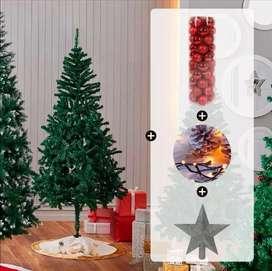 Combo Árbol de navidad, luces, bolas y estrella