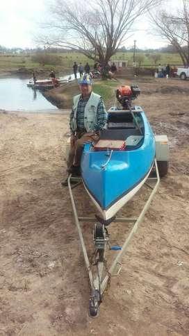 Canobote con motor arranque electrico 9hp y trailer