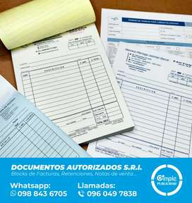 Block de facturas, y documentos SRI