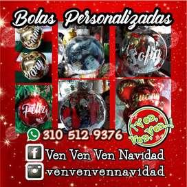 Bolas de Navidad Personalizada foto, nombre.Transparente y tradicional