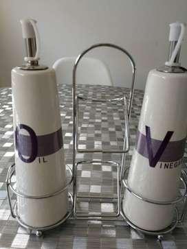 Juego aceite/ Oliva  y Vinagre de cerámico
