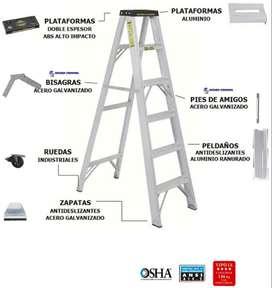 Escalera De Tijera En Aluminio 2 a 20 Pasos / 0.60 a 6.00 Metros