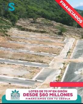 LOTES DE OPORTUNIDAD DE 70 m2 EN GIRON