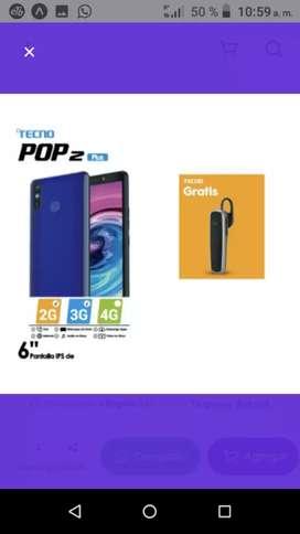 Celular tecno móviles pop2 plus-negro + manos libres bluetooth