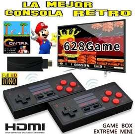 Mini consola tv HDMI 628 juegos 2 controles inalámbricos