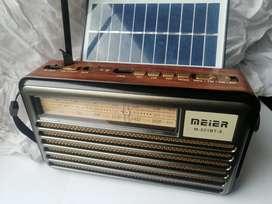 Radio estilo. Antiguo AM FM USB mp3 recargable energía solar estilo madera buen sonido