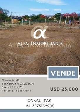 Alfa inmobiliaria Vende Terreno en Vaqueros!!!