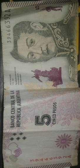 Billete de 5 pesos Argentino coleccionables