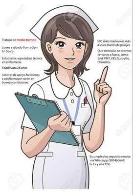 Medio tiempo. Busco técnica en enfermería, egresada o estudiante, para labores fáciles de cuidado adulto mayor.