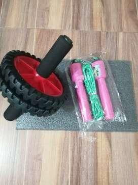 Kit de rueda abdominal semiprofesional,tapete lazo contador