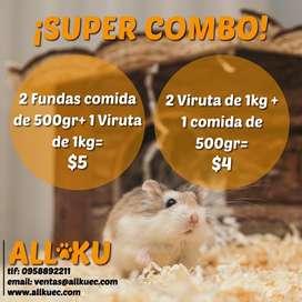 Viruta para hamster y balanceado