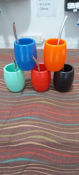 Llegaron los mates térmicos varios colores con removedor de yerba bombilla gran oferta